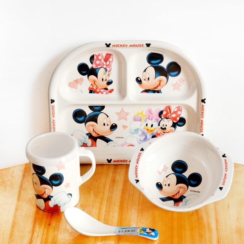 4 / Pce Melamine Children Tableware Set Cartoon Baby Children Set Baby  Tableware Bowl Spoon Cup