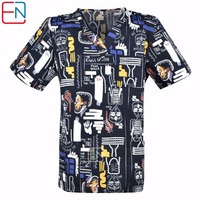 2 Designs In Hennar Men Medical Uniforms Scrub Top With V Neck Short Sleeve 100 Cotton