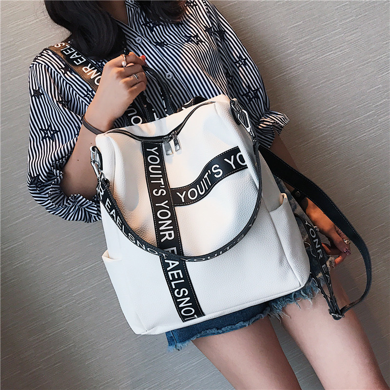 Backpack Female 2018 New Korean Wild School Wind Student Bag Casual Color Letter Backpack Travel Bag