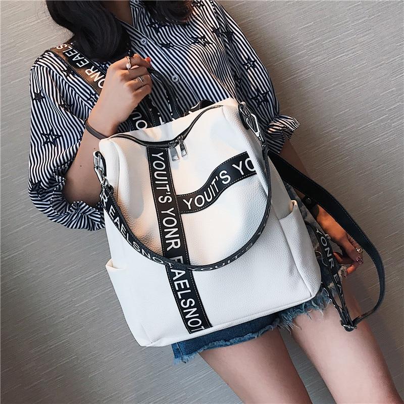 все цены на Backpack Female 2018 New Korean Wild School Wind Student Bag Casual Color Letter Backpack Travel Bag