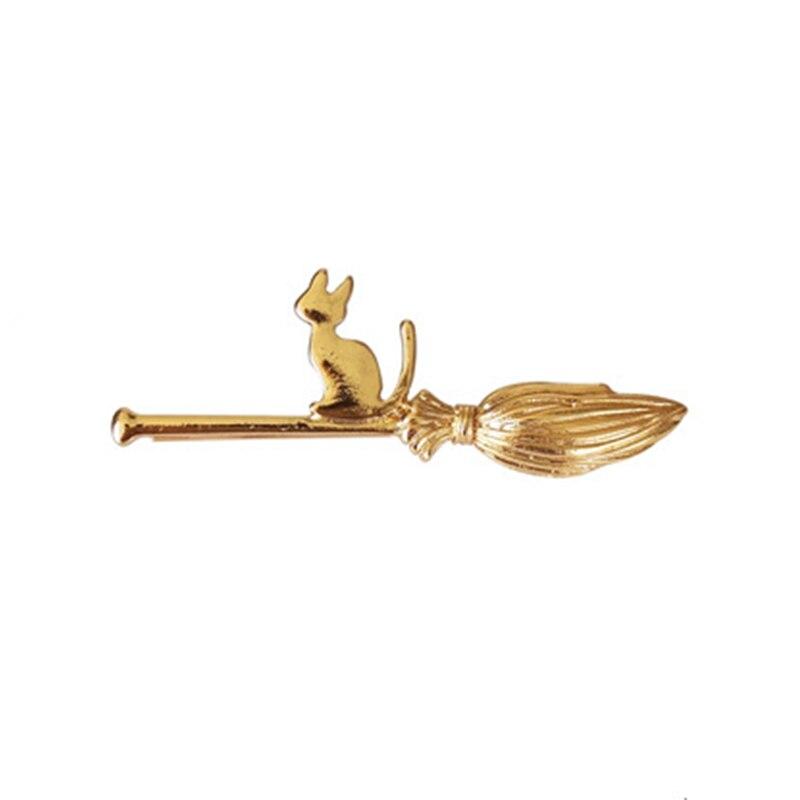 New Cartoon Magic Broom Cat Golden Silver Hair Clips and Pins Barrettes Hairgrips Women   Headwear   Hair Accessories