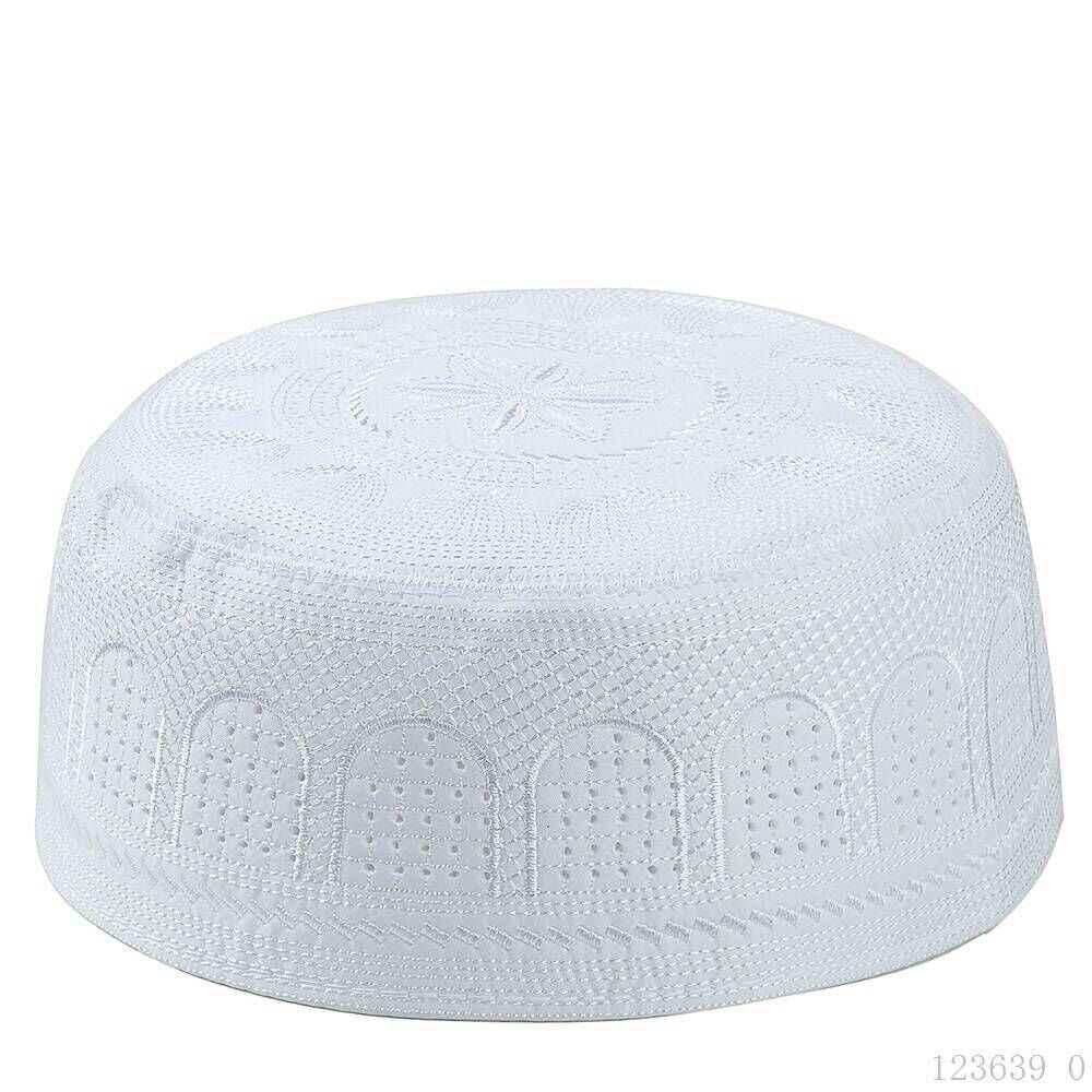 2019 מוסלמי תפילת גברים כובעי WhiteTurkish ערבית סרוג כובע אסלאמי כובעי כיסוי ראש בגדי ערבי סרוגה אסלאמי אופנה ערב