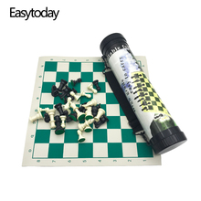 Easytoday Outdoor Chess Game Set Portable Plastic Pieces Synthetic Leather Board Straps Travel Essentials Table Games Gift