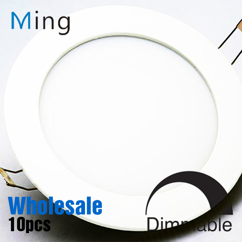 ФОТО Wholesale Dimmable LED Downlight 3W / 6W / 9W / 12W / 15W Ultra Thin Design Ceiling Recessed Round LED Panel Light 10pcs/lot