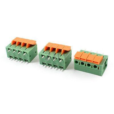 цена на 3pcs 5.08mm 4 Positions PCB Mount Screwless Spring Terminal Blocks 142V 2A