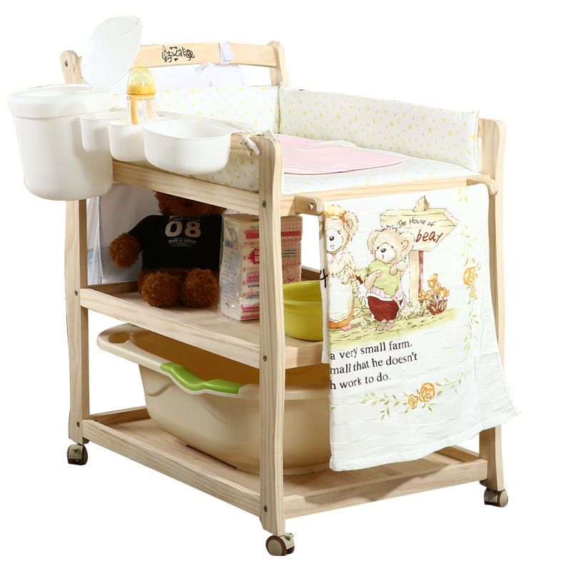 2019 New Baby Diaper Table Bath Storage Change Table Large Capacity Multi-function Solid Wood Bath