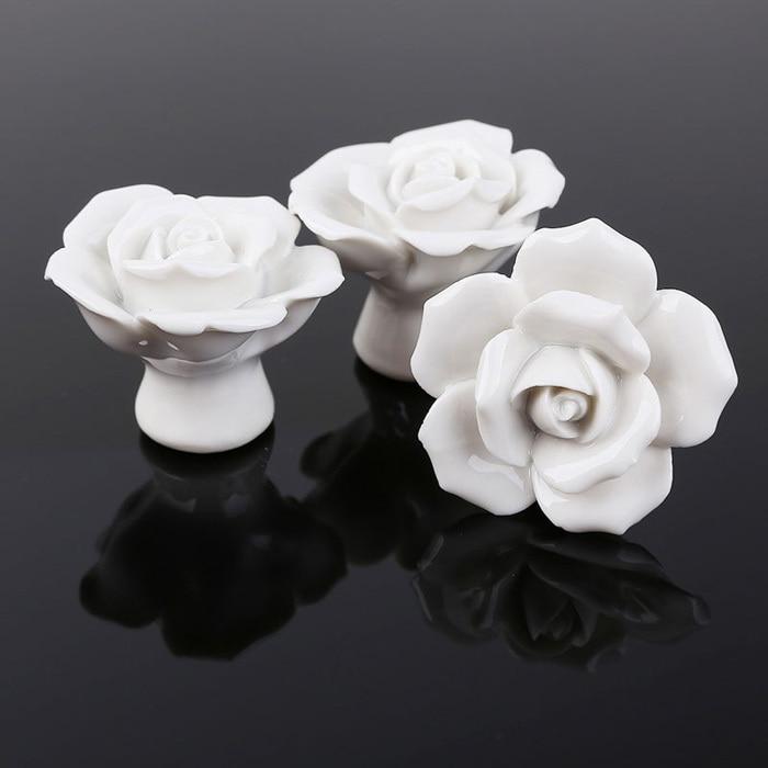 8PCS Ceramic Roses Flower Shape Door Knobs Cabinets Handle Color ...
