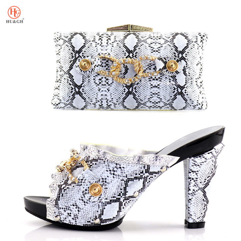 Silver Color Women Shoe and Bag Shoe and Bag Italian Design Set Decorated with Rhinestone African Women Party Shoe and Bag Set alto mick dual shoe bag black