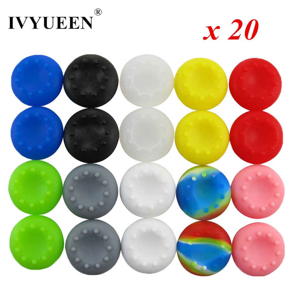 IVYUEEN 20 pcs Silicone Analog Thumb Stick Grips Cover for PS4 Pro Slim for XBox One Elite X S Controller Thumbsticks Caps