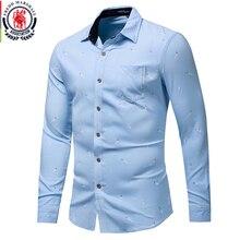 Fredd Marshall New Fashion nadruk piór koszula męska z długim rękawem Casual Dress Shirt męskie biznesowe koszule na przyjęcia towarzyskie wysokiej jakości 178