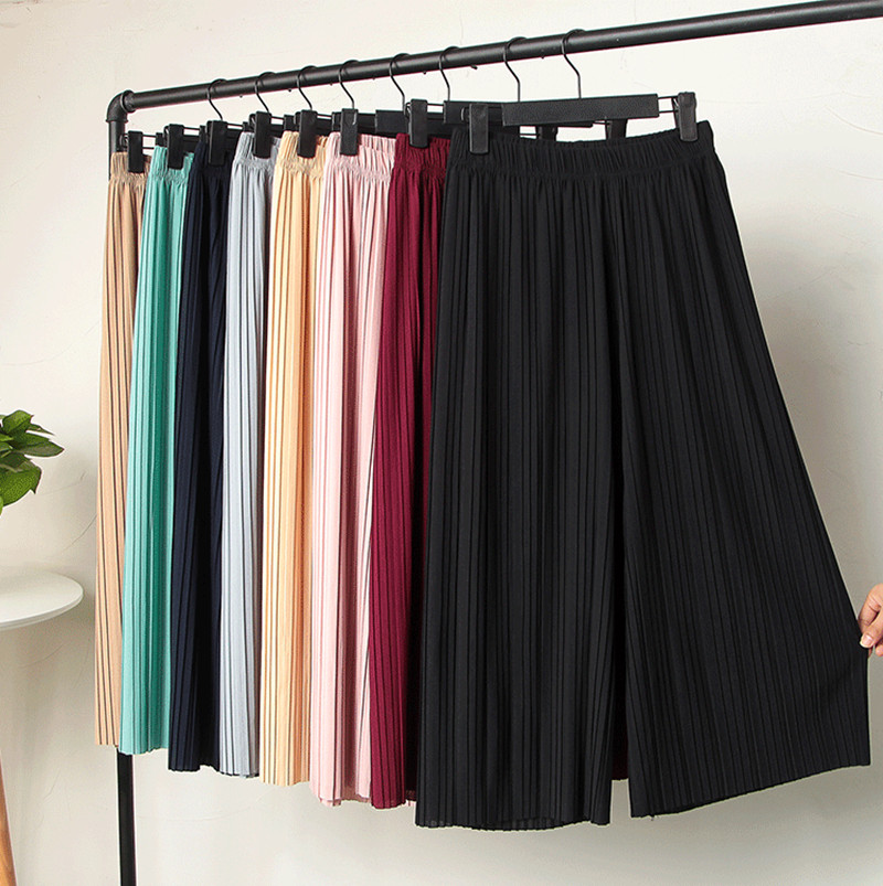 Every day special pleated women chiffon wide leg pants loose fat mm summer korean waist nine points seven culottes casual pants