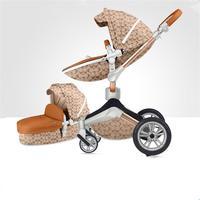 Бренд 3 in1 Детские коляска прогулочная Роскошные детские тележки могут сидеть лежачие шок Детские коляски 360 Поворотный HOTMOM