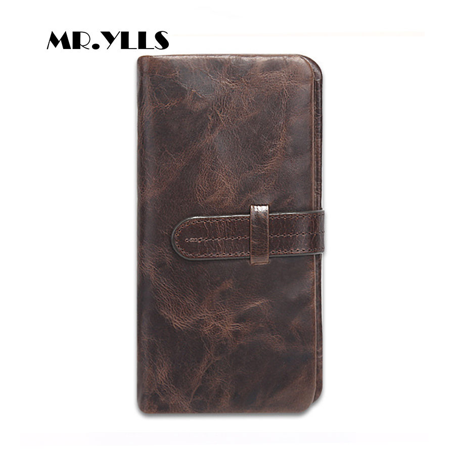 MR.YLLS Genuine Leather Vintage Wallet Men Long Wallets Card ID Holder Purses High Quality Design Coin Male Multi-Card Bit Brand