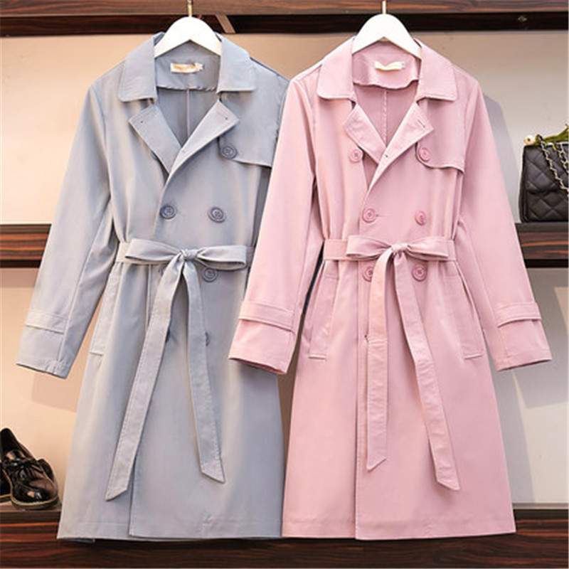 2019 fashion solid color Long   Trench   Coat Spring Autumn Women's Double-breasted belt Plus Size Windbreaker Female Outerwear v718