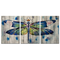 Pieces Canvas Wall Art Watercolor Dragonfly On Wood Background Vintage Animals Painting Print On Canvas For Modern Home Decor