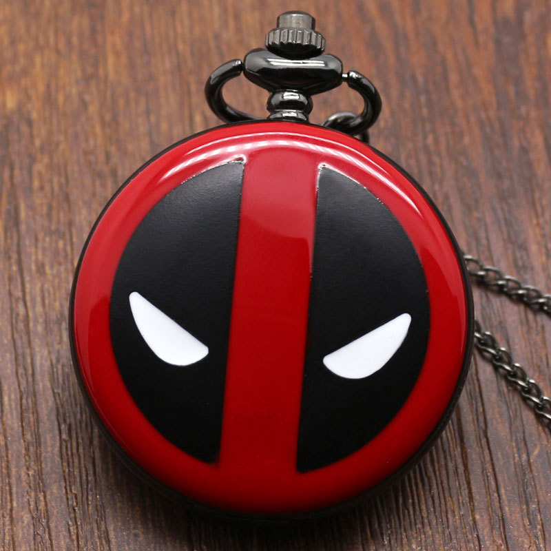 Fashion Deadpool Cosplay Anime Cartoon Pocket Watches With Chain Necklace Pendant  For Kids Boys And Girls