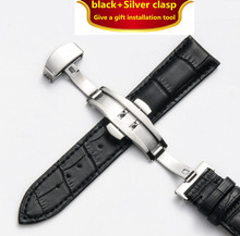 Genuine Leather Watchbands 12-24mm Universal Watch Butterfly buckle Band Steel Buckle Strap Wrist Belt Bracelet + Tool недорого