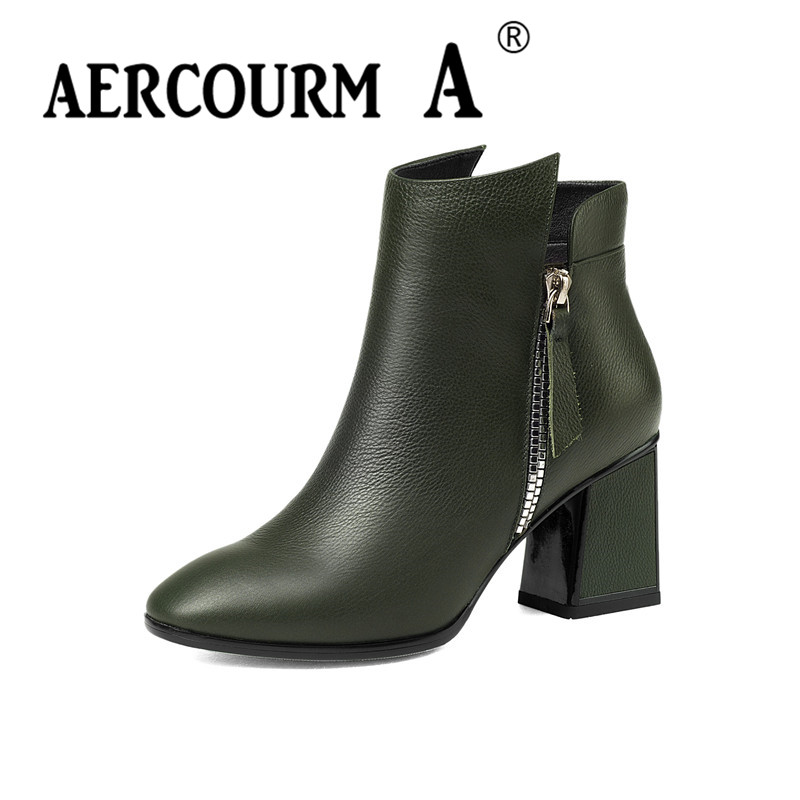 Aercourm A 2017 Ankle Boots Women Genuine Leather Shoes Cowhide High Heel Shoes Luxury Brand Shoes Women Metal Zippe Boots Z956 aercourm a 2018 women black fashion shoes female bright genuine leather shoes pearl high heel pumps bow brand new shoes z333
