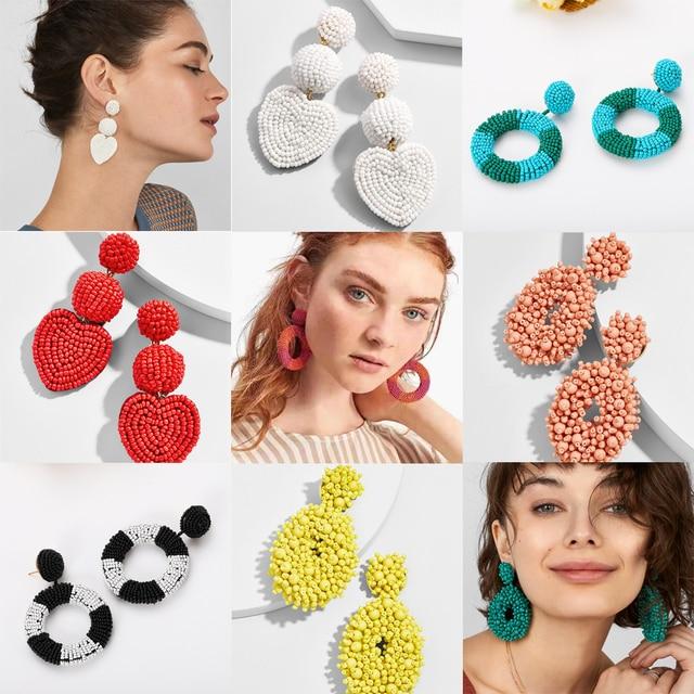 745aa01f8 Best lady Boho Handmade Beaded Earrings for Women Special Design Heart Love  Wedding Statement Jewelry Bridal