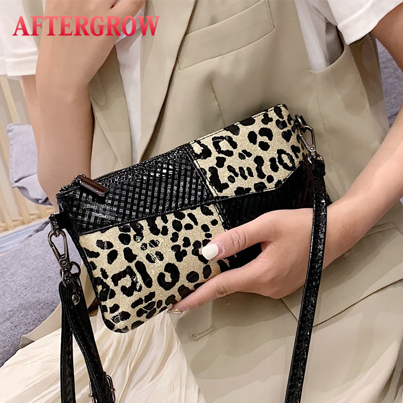 Leopard Women Messenger Bag Couro Brilhante Pu Leather Handabgs Envelope Bags Female Clutch Crossbody Wristlet Bag Leopar Canta