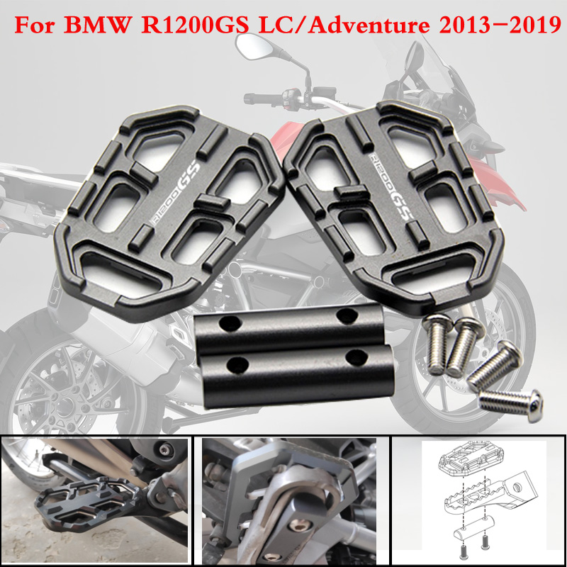 For BMW R1200GS R1200 GS R 1200 GS 2013-2019 CNC Aluminum Motorcycle Billet Wide Foot Pegs Pedals Rest Footpegs