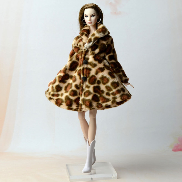 Doll Accessories Winter Wear Warm Fur Coat Dress Clothes For Barbie Dolls Fur Doll Clothing For 1/6 BJD Doll Kids Toy