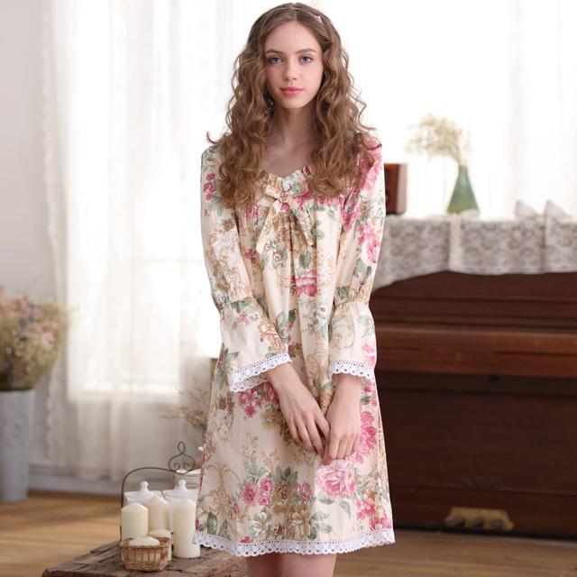 Marca Mulheres Camisolas de Algodão Puro Floral Impresso Longo-Sleeved Camisola Nova Do Joelho-Comprimento Princesa Sleepwear Pijama Feminino 1711