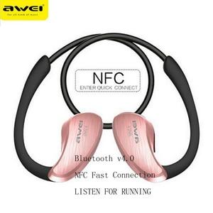Image 3 - AWEI A885BL APT X kablosuz bluetooth kulaklık spor kulak kancası HiFi Stereo bas kayıpsız ses NFC hızlı Connet şarj