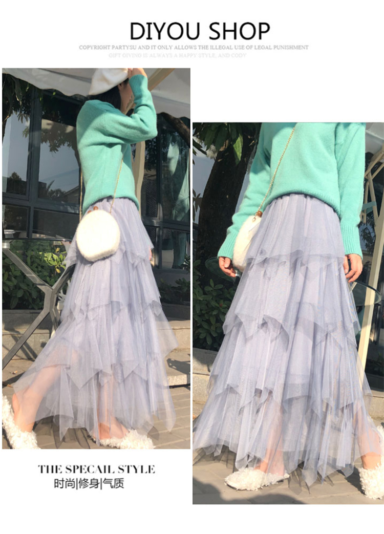 Women irregular Tulle Skirts Fashion Elastic High Waist Mesh Tutu Skirt Pleated Long Skirts Midi Skirt Saias Faldas Jupe Femmle 27