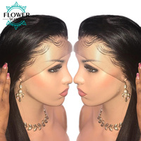 FlowerSeason 5x4.5 Full Lace Silk Base Human Hair Wigs With Baby Hair Indian Remy Hair Silky Straight Pre Plucked For Women