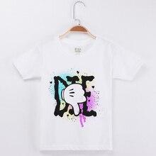 New Arrival Basic White Tee Shirt Boy Brand Tshirt Cotton O-Neck Short Sleeve Popular Tops Creative Print Boys Tshirts Children
