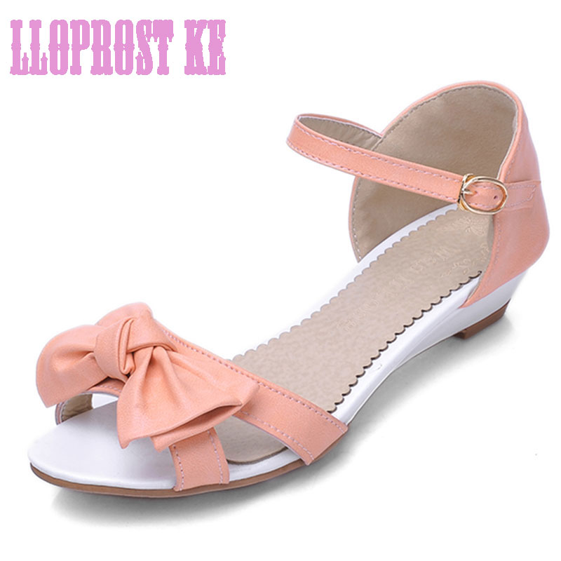Lloprost ke Fashion Summer Sweet Women Wedges ladies Sandals Casual Butterfly-knot Peep toe Woman Shoes med heels Flip flopJT067 new flock high big size 11 12 women shoes wedges pointed toe woman ladies butterfly knot casual spring autumn sweet single shoes