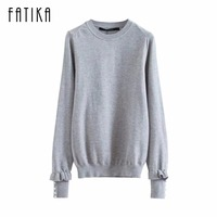 FATIKA 2017 New Women S Pullover Long Sleeves O Neck Sweaters Elegant Ruffles Cuff Autumn And