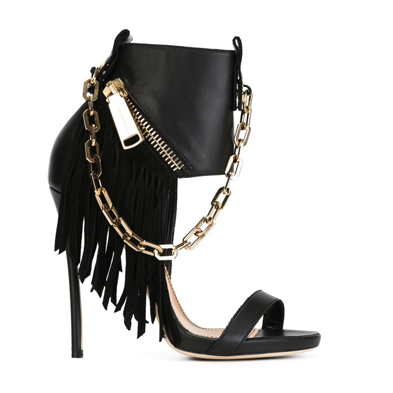 Cool Chains Fringed Women Sandals 2017 High brand Gladiator Sandalias Pumps Side Zip Tassel Rocker Stiletto Wedding Shoes Woman