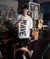 Летняя мода, стиль мужчины женщины kpop exo chanyeol же волна печати белая футболка простой o шею с коротким рукавом футболки плюс размер