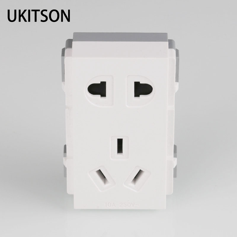 White Color Electric Plug 2 Pins 3pin AC 250V Power Slot 69x36mm Fit For Blank Wall Outlet