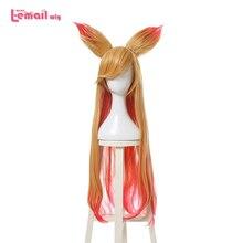 L email peruk Yeni Varış Oyun LOL Ahri Karakter Cosplay Peruk 90 cm Uzun Isıya Dayanıklı Sentetik Saç Peruk cosplay Peruk