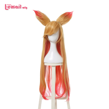 L-email wig New Arrival Game LOL Character Cosplay Wigs 90cm/35.43inches Long Heat Resistant Synthetic Hair Perucas Cosplay Wig 2015 new hot sell lol new hero jinx 100cm long blue braid cosplay party hair wig free shipping