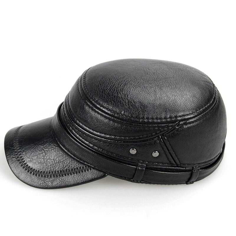Cowskin cuero genuino gorra de béisbol hombres sombrero con orejeras gorra  de piel de vaca cuero de vaca plana Snapback sombrero para hombres Casual b  7230 ... 5daa6b99f37