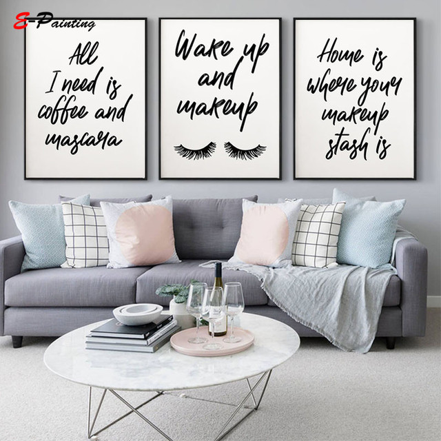 Makeup Quotes Modern Canvas Painting Picture Eyelashes Prints Wake Up and Makeup  Makeup Quotes