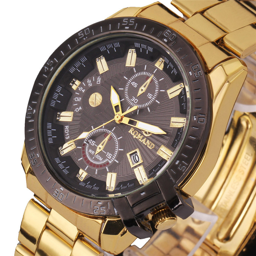 NEW Fabulous Luxury Mens Black Dial Gold Stainless Steel Date Quartz Analog Sport Wrist Watch kol saati  #30 smileomg mens gold watches diamond dial gold steel analog quartz wrist watch christmas gift free shipping sep 8
