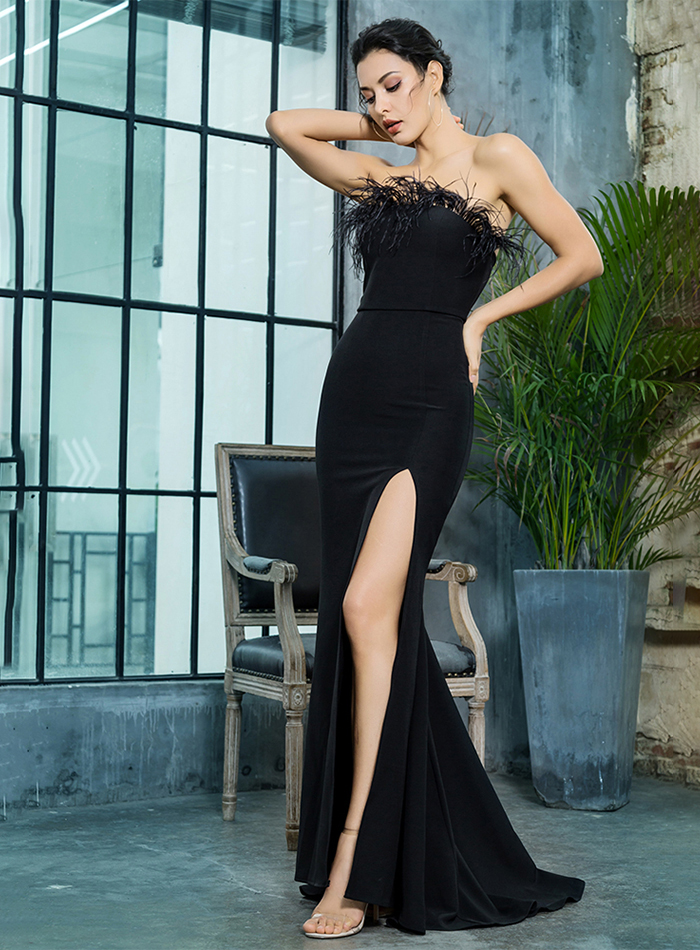 Black Strapless Cut Out Feather Long Dress 2