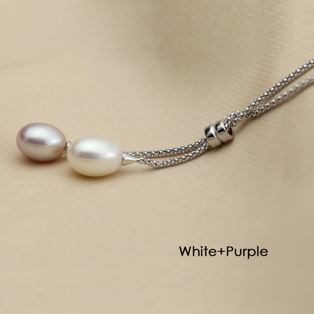 Real Long Natural Freshwater Pearl Pendant Casual Cute 925 Silver Pendants Necklace Girlfriend Gift Gem Color White