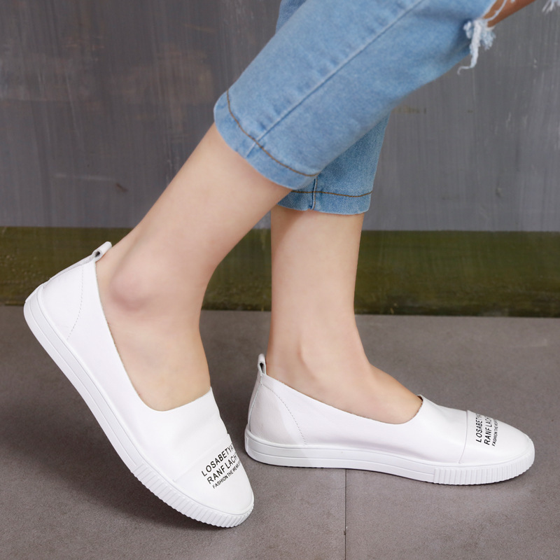 ФОТО 2017 Spring Womens White Casual Leather Shoes Handmade Women Shoes Black Genuine Leather Ladies Flats Soft Bottom Set Foot Flat