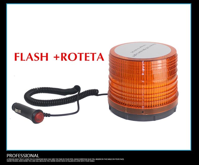 LED Magnetic 10-30V Highlights 72LED Rotate Strobe Flash Rotation Warning Lights Project Forklift Top Round Ambe Traffic Light