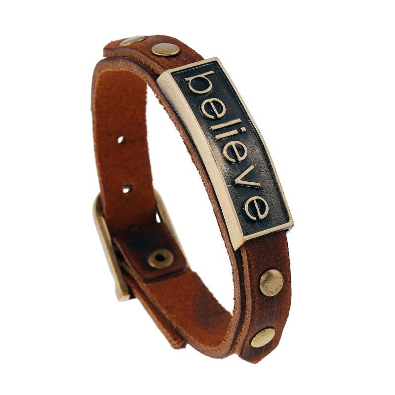 100% Genuine Cow Leather Men Bracelet Cuff Letter BELIEVE FORGIVEN ACHIEVE Bangles Bracelet Belt Friendship Bracelet For Couples