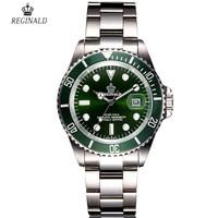 Original Reginald Luxury Top Brand Fashion Mens Watches Quartz Steel Waterproof Green Wrist Watch For Man