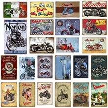 Vintage motocicleta Retro placa Metal signos Vespa Poster Bar Pub café Club decoración de la pared arte taberna garaje Decoración