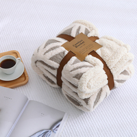 Coffee Fashion Jacquard Thickening Thick Sherpa Throw Blanket Coverlet Reversible Fuzzy Microfiber All Season For Bed