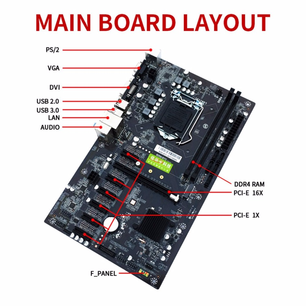 Desktop Computer Mainboard  Intel B250 BTC support LGA1151 series DDR3 DIMM 2133/2400/2800/3000MHz motherboard for mining miner biostar h110mds2 pro d4 1151 h110 motherboard support g4560 i3 7100 micro atx desktop computer motherboard solid state capacitor